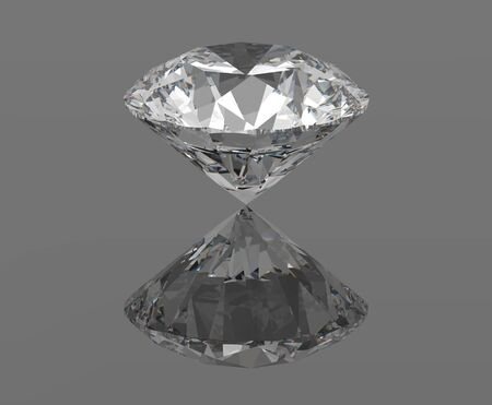 Diamond, gemstone isolated with reflections, 3d render photo