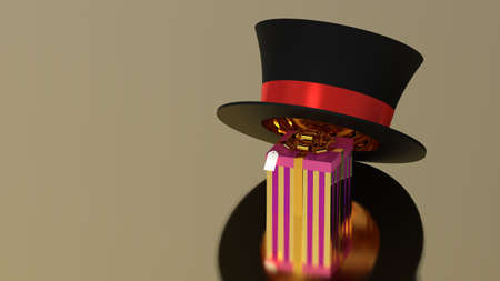 Gift box under hat on golden background, 3d render photo