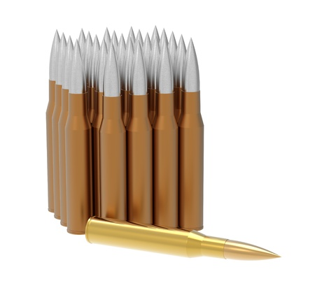 Golden bullet isolated on white background 3d render photo