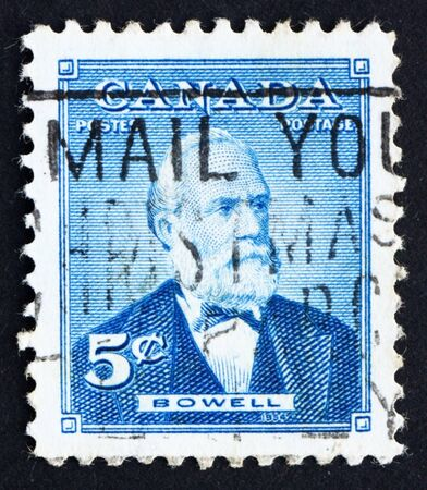 CANADA - CIRCA 1954: a stamp printed in the Canada shows Sir Mackenzie Bowell, Politician, Prime Minister, circa 1954 Stock Photo - 16223493