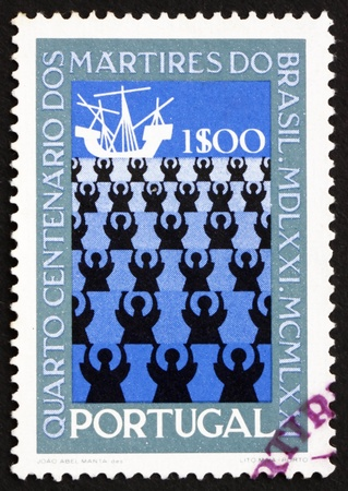 martyrdom: PORTUGAL - CIRCA 1971: a stamp printed in the Portugal shows Missionaries and Ship, 400th Anniversary of the Martyrdom of a Group of Portuguese Missionaries, circa 1971 Editorial