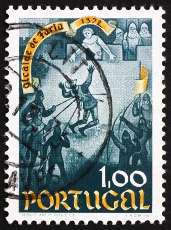 heroism: PORTUGAL - CIRCA 1972: a stamp printed in the Portugal shows Death of Nuno Gonzalves, 600th Anniversary of the Heroism of Nuno Gonzalves, Alcaide od Faria Castle, circa 1972