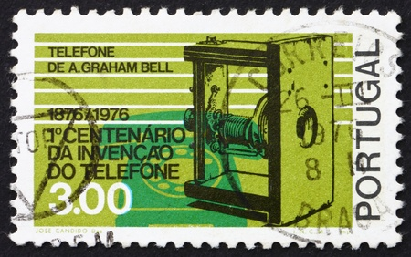 PORTUGAL - CIRCA 1976: a stamp printed in the Portugal shows Telephones 1876 and 1976, Centenary of first Telephone Call by Alexander Graham Bell, circa 1976 Stock Photo - 16223495