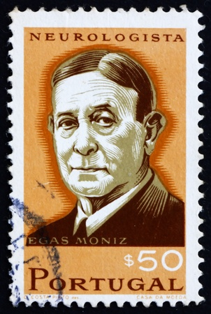 PORTUGAL - CIRCA 1966: a stamp printed in the Portugal shows Egas Moniz, Neurologist, Winner of Nobel Prize in Medicine, circa 1966 Stock Photo - 16223484