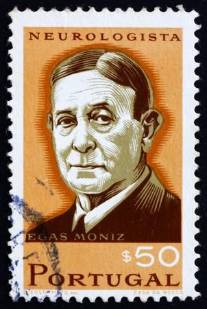 PORTUGAL - CIRCA 1966: a stamp printed in the Portugal shows Egas Moniz, Neurologist, Winner of Nobel Prize in Medicine, circa 1966 Stock Photo - 16223484