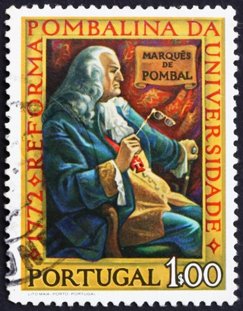 PORTUGAL - CIRCA 1972: a stamp printed in the Portugal shows Marquis of Pombal, Bicentenary of the Pombaline Reforms of University of Coimbra, circa 1972 Stock Photo - 16223497