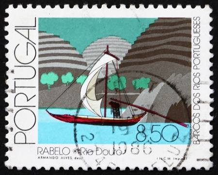 rabelo: PORTUGAL - CIRCA 1981: a stamp printed in the Portugal shows Rabelo, Douro River, circa 1981 Editorial