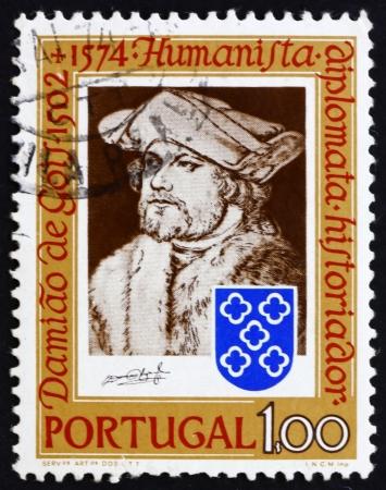 durer: PORTOGALLO - CIRCA 1974: un francobollo stampato in Portogallo mostra Damiao de Gois, da Durer, umanista, scrittore, compositore, 400 � anniversario della morte, circa 1974