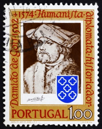 humanist: PORTUGAL - CIRCA 1974: a stamp printed in the Portugal shows Damiao de Gois, by Durer, Humanist, Writer, Composer, 400th Anniversary of the Death, circa 1974