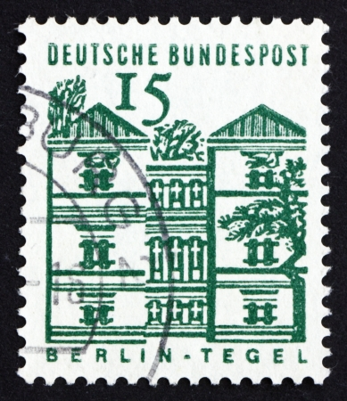 GERMANY - CIRCA 1965: a stamp printed in the Germany shows Tegel Castle, Berlin, circa 1965 Stock Photo - 16224743