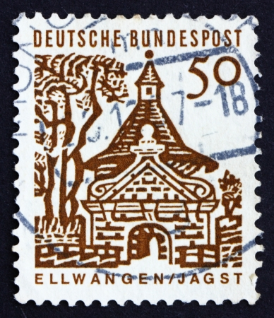 GERMANY - CIRCA 1964: a stamp printed in the Germany shows Castle Gate, Ellwangen, circa 1964 Stock Photo - 16224747