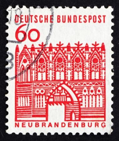 treptow: GERMANY - CIRCA 1964: a stamp printed in the Germany shows Treptow Gate, Neubrandenburg, circa 1964
