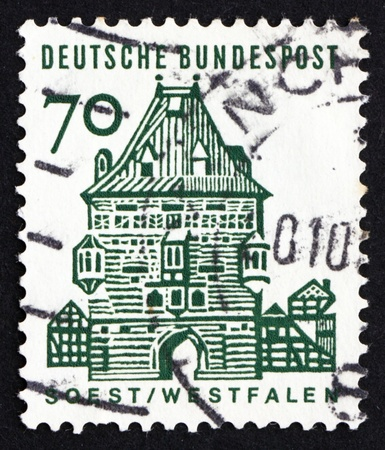 westfalen: GERMANY - CIRCA 1965: a stamp printed in the Germany shows Osthofen Gate, Soest, Westfalen, circa 1965
