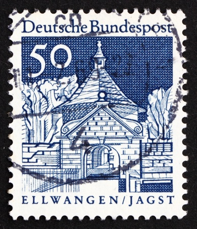 GERMANY - CIRCA 1967: a stamp printed in the Germany shows Castle Gate, Ellwangen, Jagst, circa 1967 Stock Photo - 16224759