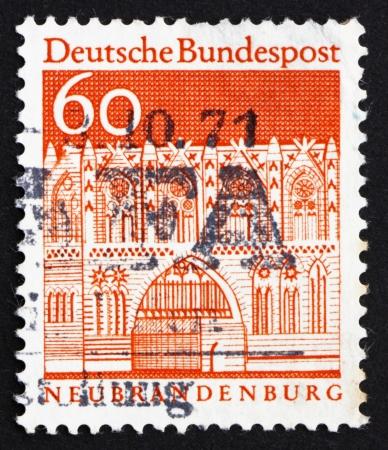 treptow: GERMANY - CIRCA 1967: a stamp printed in the Germany shows Treptow Gate, Neubrandenburg, circa 1967