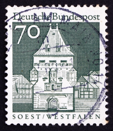 westfalen: GERMANY - CIRCA 1967: a stamp printed in the Germany shows Osthofen Gate, Soest, Westfalen, circa 1967 Editorial