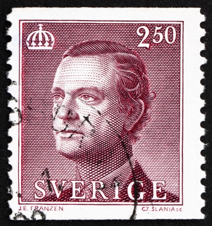 SWEDEN - CIRCA 1990: a stamp printed in the Sweden shows Carl XVI Gustaf, King of Sweden, circa 1990 Stock Photo - 16224776