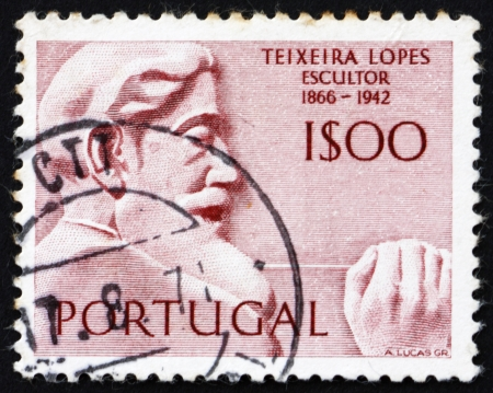 PORTUGAL - CIRCA 1971: a stamp printed in the Portugal shows Antonio Teixeira Lopes, Portuguese Sculptor, circa 1971 Stock Photo - 16224772