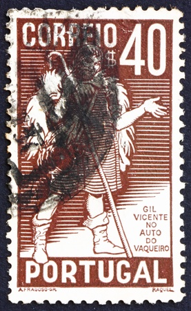 PORTUGAL - CIRCA 1937: a stamp printed in the Portugal shows Gil Vicente, Portuguese Playwright, 400th Anniversary of the Death, circa 1937