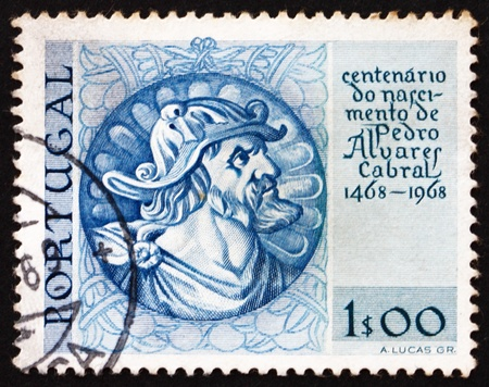 discoverer: PORTUGAL - CIRCA 1969: a stamp printed in the Portugal shows Pedro Alvares Cabral, Navigator, Discoverer of Brazil, 5th Centenary of the Birth, circa 1969 Editorial
