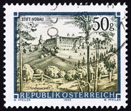 AUSTRIA - CIRCA 1990: a stamp printed in the Austria shows Vorau Abbey, Styria, circa 1990 Stock Photo - 16224795