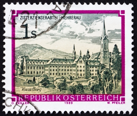 AUSTRIA - CIRCA 1989: a stamp printed in the Austria shows Monastery of Mehrerau, Vorarlberg, circa 1989 Stock Photo - 16224780