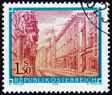 AUSTRIA - CIRCA 1992: a stamp printed in the Austria shows Monastery of the German Order in Vienna, circa 1992 Stock Photo - 16224788