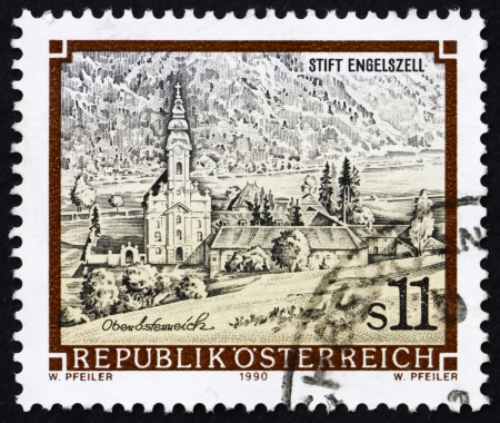 AUSTRIA - CIRCA 1990: a stamp printed in the Austria shows Engelszell Abbey, Upper Austria, circa 1990 Stock Photo - 16224782