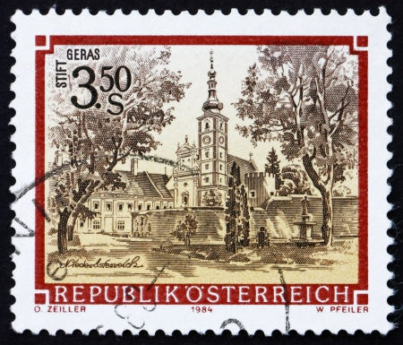 AUSTRIA - CIRCA 1984: a stamp printed in the Austria shows Geras Monastery, Lower Austria, circa 1984 Stock Photo - 16224787