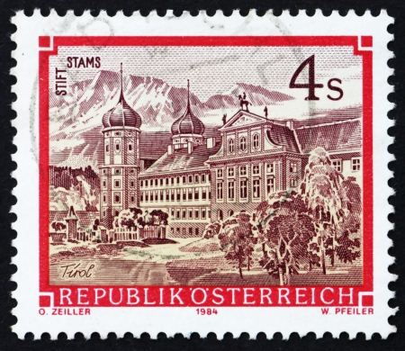 AUSTRIA - CIRCA 1984: a stamp printed in the Austria shows Stams Monastery, Tirol, circa 1984 Stock Photo - 16224785