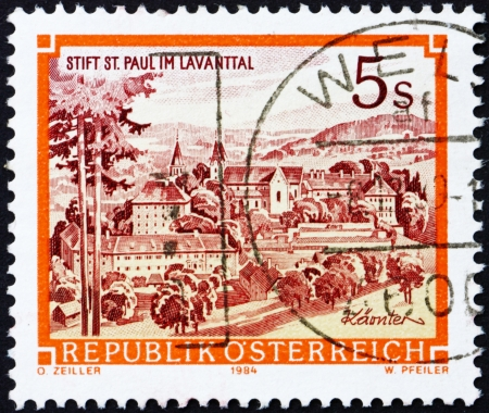 AUSTRIA - CIRCA 1990: a stamp printed in the Austria shows Benedictine Abbey of St. Paul, Levanttal, circa 1990 Stock Photo - 16224778