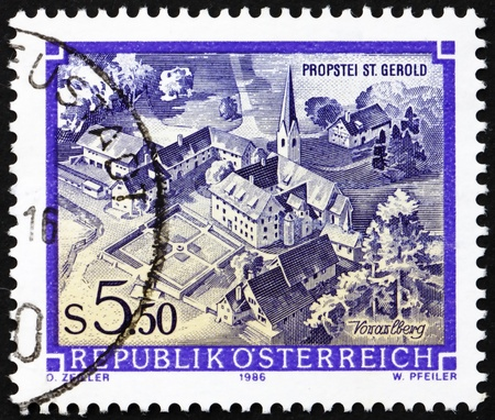 AUSTRIA - CIRCA 1986: a stamp printed in the Austria shows St. Gerold�s Provostry, Vorarlberg, circa 1986 Stock Photo - 16224789