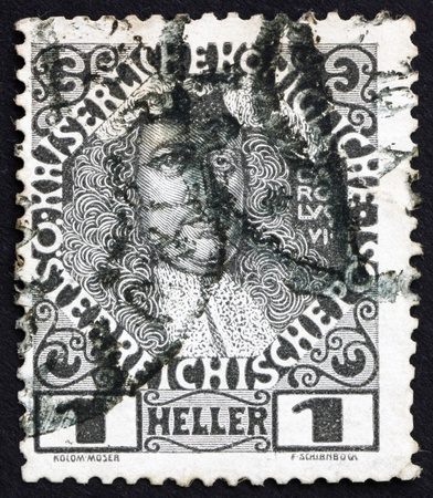 AUSTRIA - CIRCA 1908: a stamp printed in the Austria shows Karl VI, Emperor of Austria, circa 1908 Stock Photo - 16224803