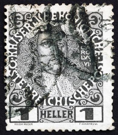 AUSTRIA - CIRCA 1908: a stamp printed in the Austria shows Karl VI, Emperor of Austria, circa 1908 Stock Photo - 16224803
