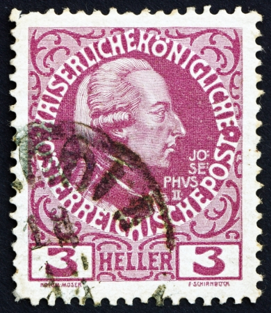 AUSTRIA - CIRCA 1913: a stamp printed in the Austria shows Joseph II, Emperor of Austria, circa 1913 Stock Photo - 16224805