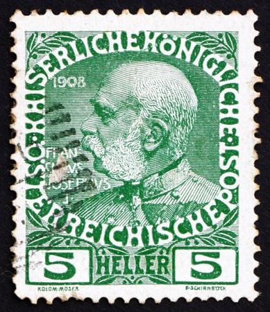 AUSTRIA - CIRCA 1913: a stamp printed in the Austria shows Franz Josef, Emperor of Austria, circa 1913 Stock Photo - 16224804