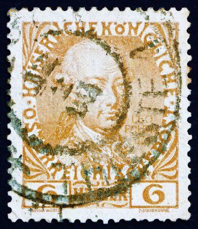 leopold: AUSTRIA - CIRCA 1908: a stamp printed in the Austria shows Leopold II, Emperor of Austria, circa 1908
