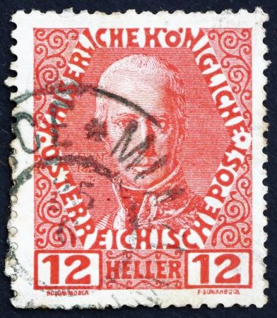 AUSTRIA - CIRCA 1908: a stamp printed in the Austria shows Franz I, Emperor of Austria, circa 1908 Stock Photo - 16224802