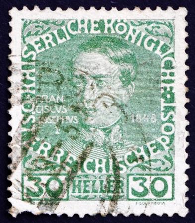 AUSTRIA - CIRCA 1913: a stamp printed in the Austria shows Franz Josef as Youth, Emperor of Austria, circa 1913 Stock Photo - 16224807