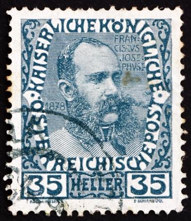 AUSTRIA - CIRCA 1908: a stamp printed in the Austria shows Franz Josef in middle Age, Emperor of Austria, circa 1908 Stock Photo - 16224810