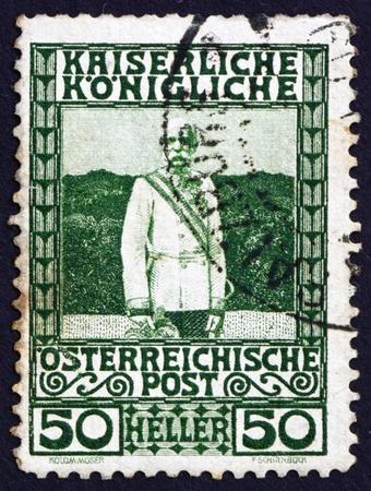 AUSTRIA - CIRCA 1908: a stamp printed in the Austria shows Franz Josef, Emperor of Austria, circa 1908 Stock Photo - 16224809