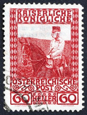 AUSTRIA - CIRCA 1908: a stamp printed in the Austria shows Franz Josef on Horseback, Emperor of Austria, circa 1908 Stock Photo - 16224813