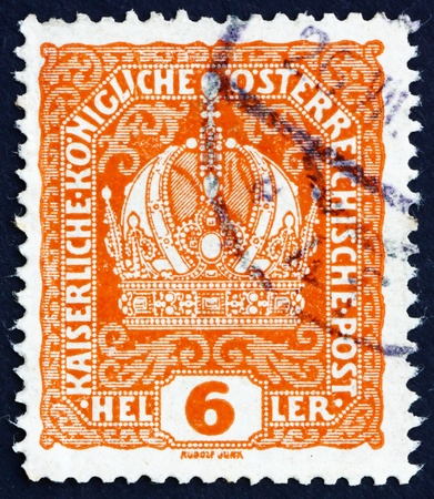 AUSTRIA - CIRCA 1916: a stamp printed in the Austria shows Austrian Crown, circa 1916 Stock Photo - 16224800