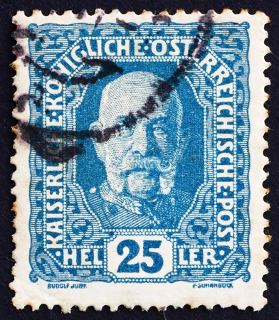 AUSTRIA - CIRCA 1916: a stamp printed in the Austria shows Franz Josef, Emperor of Austria, circa 1916 Stock Photo - 16224812