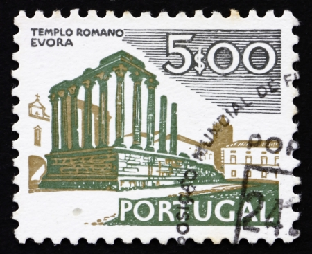 PORTUGAL - CIRCA 1974: a stamp printed in the Portugal shows Roman Temple, Evora, circa 1974