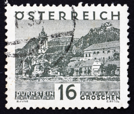AUSTRIA - CIRCA 1929: a stamp printed in the Austria shows Durnstein, circa 1929 Stock Photo - 16286334