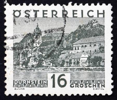 AUSTRIA - CIRCA 1929: a stamp printed in the Austria shows Durnstein, circa 1929 Stock Photo - 16286334