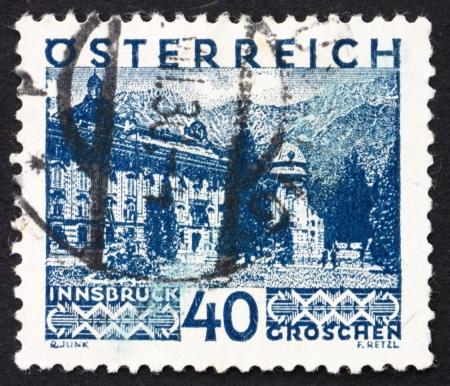 AUSTRIA - CIRCA 1929: a stamp printed in the Austria shows Innsbruck, circa 1929 Stock Photo - 16286337