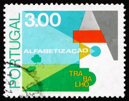 illiteracy: PORTUGAL - CIRCA 1976: un sello impreso en el Portugal muestra agr�cola, lucha contra el analfabetismo, alrededor del a�o 1976
