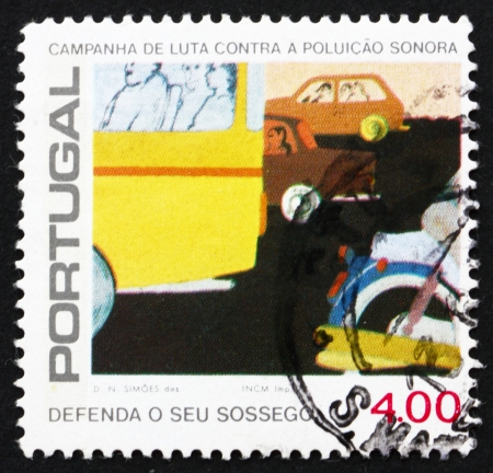 noise pollution: PORTUGAL - CIRCA 1979: a stamp printed in the Portugal shows Automobile Traffic, Combat Noise Pollution, circa 1979 Editorial
